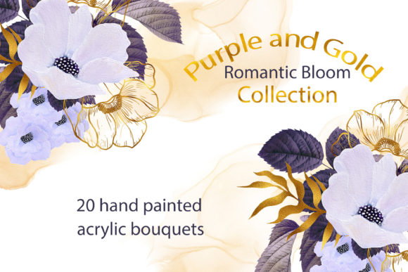 Print on Demand: Purple and Gold Romantic Bloom Bouquets Graphic Illustrations By Andreea Eremia Design