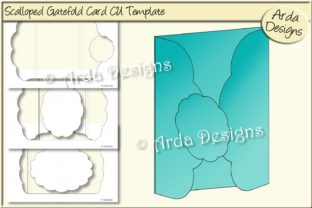 Print on Demand: Scalloped Gatefold Card CU Template Graphic Print Templates By Arda Designs