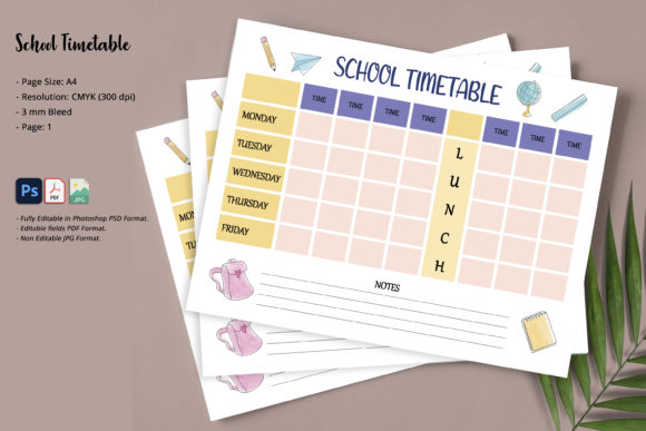 Print on Demand: School Timetable Graphic KDP Interiors By SmmrDesign