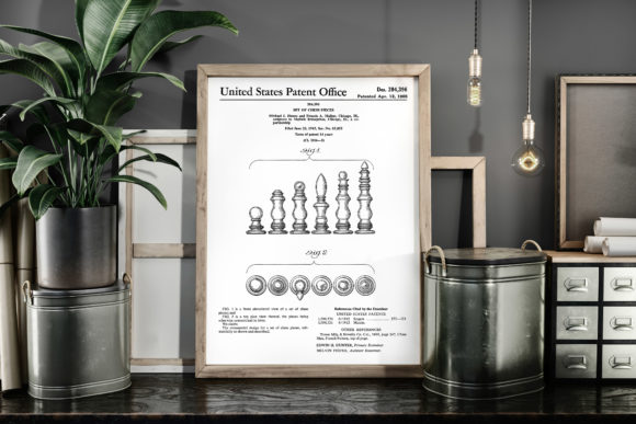 Print on Demand: Set of Chess Pieces 1966 Patent Poster Graphic Illustrations By Antique Pixls