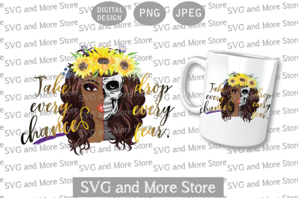 Skull Half Woman, Sunflower African Graphic Illustrations By svgandmorestore