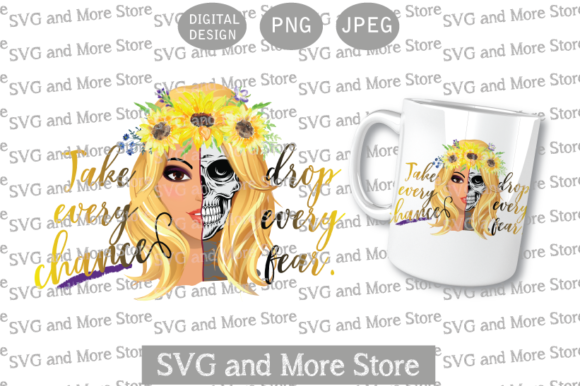Skull Half Woman, Sunflower Blonde Graphic Illustrations By svgandmorestore
