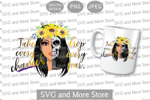 Skull Half Woman, Sunflower Brunette Graphic Illustrations By svgandmorestore