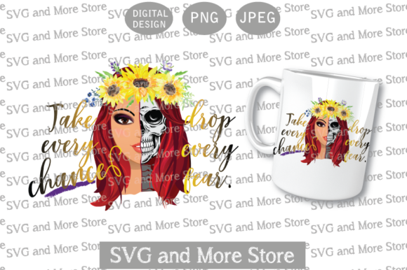 Skull Half Woman, Sunflower Redhead Graphic Illustrations By svgandmorestore