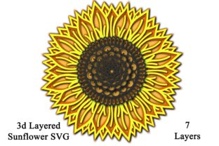 Sunflower Layered - 7 Layers Graphic 3D Flowers By Digital Honey Bee