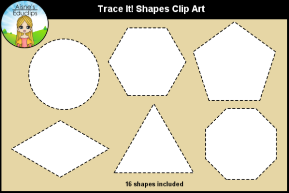 Print on Demand: Trace It! 2D Shapes Clip Art Graphic Teaching Materials By Aisne Educlips