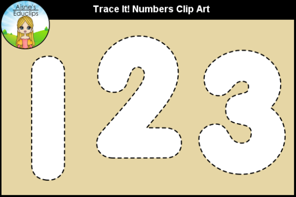 Print on Demand: Trace It! Numbers Clip Art Graphic Teaching Materials By Aisne Educlips