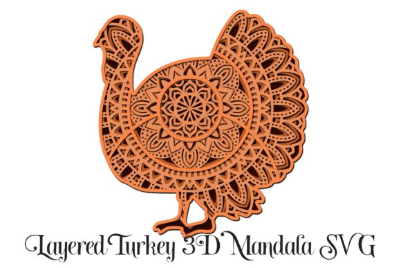Turkey Mandala - 3D Layered SVG Graphic 3D SVG By Digital Honey Bee