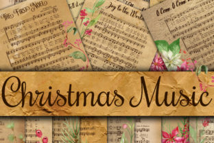 Print on Demand: Vintage Christmas Music Digital Paper Graphic Crafts By oldmarketdesigns