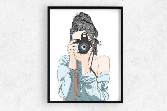 Wall Art Girl with Pro Camera Graphic Illustrations By Saydung89