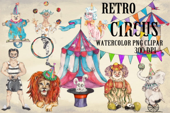 Watercolor Circus Cliparts Graphic Illustrations By arevkasunshine