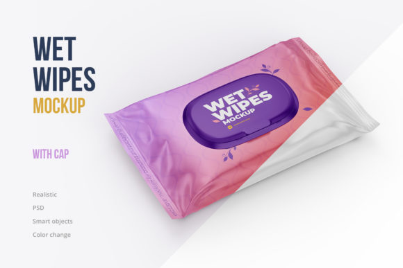 Wet Wipes with Cap Mockup Angled View Graphic Product Mockups By mock-up.ru