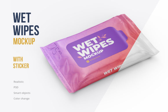 Wet Wipes with Sticker Mockup Angled Graphic Product Mockups By mock-up.ru