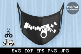 Print on Demand: Zipper Silhouette Cut File for Face Mask Graphic Crafts By Toon Forest