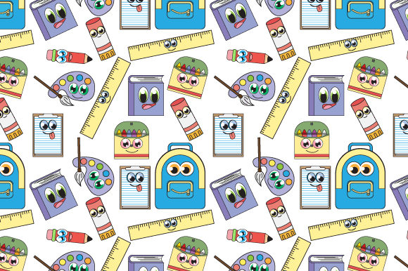Print on Demand: Cute Cartoon Stationery Seamless Pattern Graphic Patterns By curutdesign