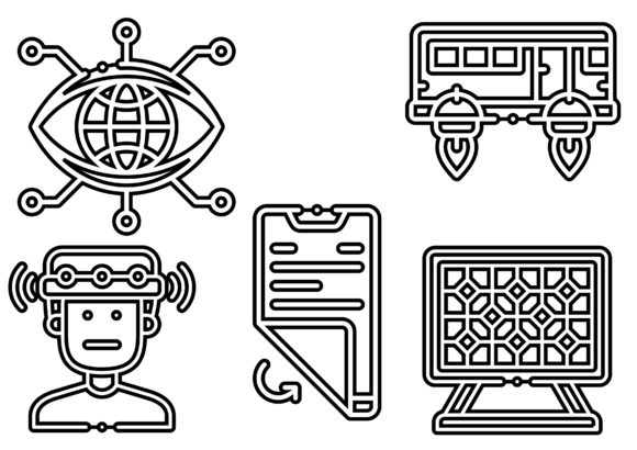Futuristic Technology Black Graphic Icons By ssiimpti73
