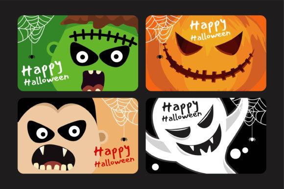 Scary Faces Halloween Card Collection Graphic Illustrations By onoborgol