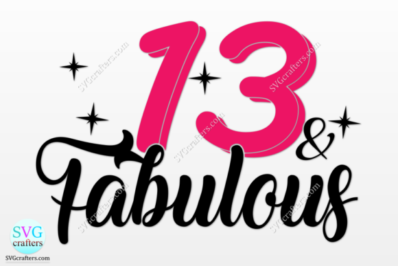 13th Happy Birthday Graphic Download
