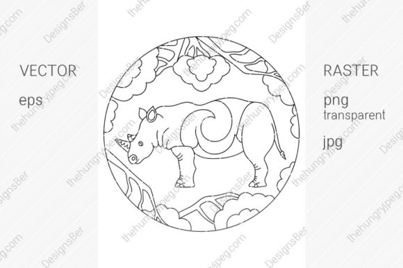 Coloring Page with Animals. Rhinoceros Graphic Coloring Pages & Books By DesignsBer