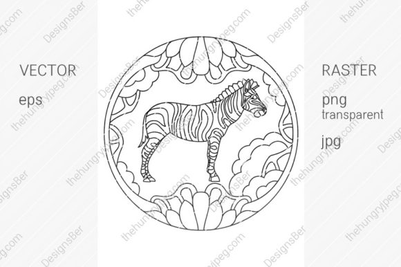 Coloring Page with Animals. Zebra Graphic Coloring Pages & Books By DesignsBer