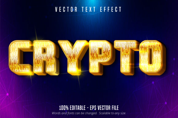 Print on Demand: Crypto, Gold Style Editable Text Effect Graphic Graphic Templates By Mustafa Bekşen