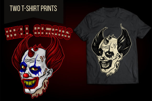 Evil Clown from Hell Circus Halloween Graphic Illustrations By LaLaFa
