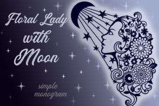 Print on Demand: Floral Lady with Moon Graphic Crafts By tatiana.cociorva