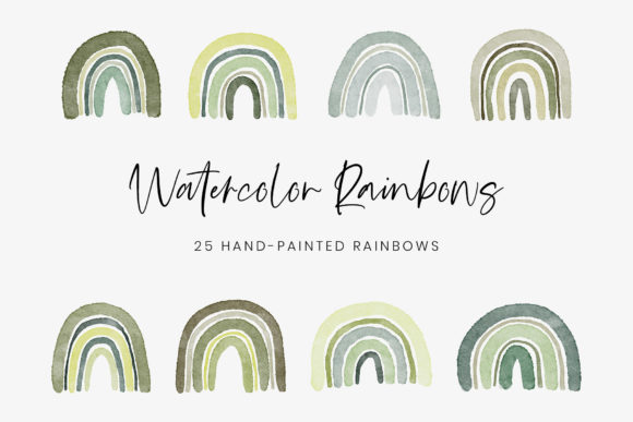 Green Watercolor Rainbows Graphic Illustrations By StylishDesign