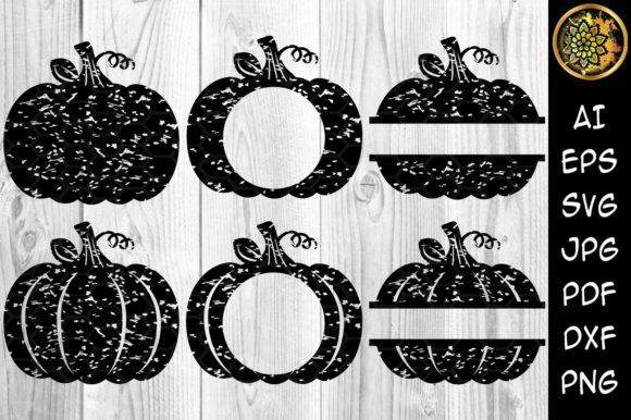 Halloween Distress Pumpkin Monogram Graphic Illustrations By V-Design Creator