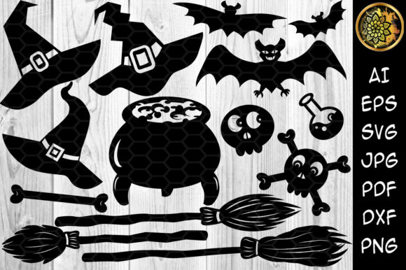 Print on Demand: Halloween Elements Ornaments Clipart Graphic Illustrations By V-Design Creator