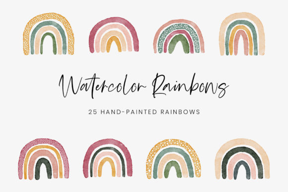 Hand Painted Watercolor Rainbows Graphic Illustrations By StylishDesign