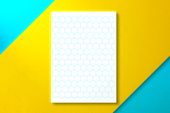 Hexagonal Grid Paper Letter Cyan Graphic KDP Interiors By Nickkey Nick