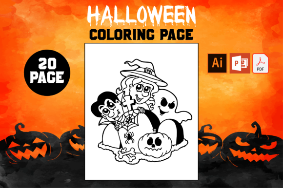 Print on Demand: KDP Halloween 20 Coloring Pages Kids Graphic Coloring Pages & Books Kids By Fox Design Studio