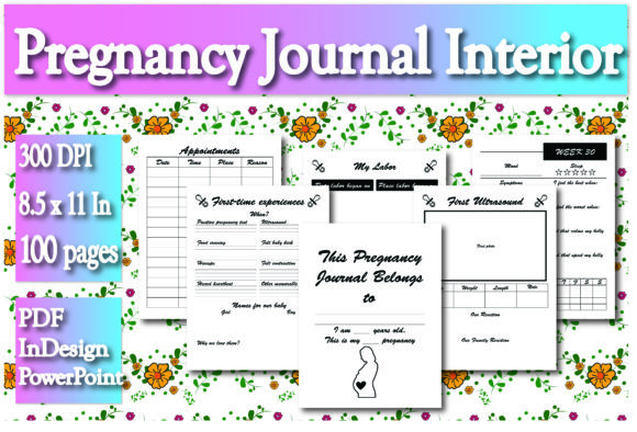 Print on Demand: KDP Pregnancy Journal Interior Graphic KDP Interiors By Ivana Prue