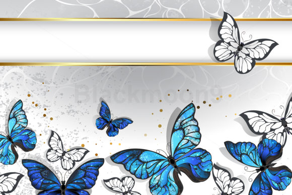 Narrow Banner with Butterflies Morpho Graphic Illustrations By Blackmoon9