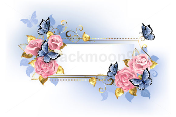 Narrow Banner with Pink Roses Graphic Illustrations By Blackmoon9