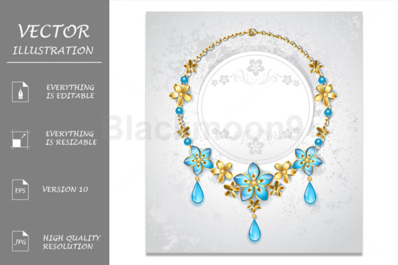 Necklace with Gold Flowers Graphic Illustrations By Blackmoon9