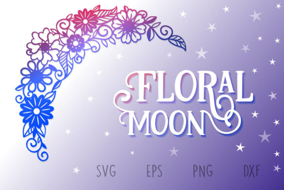 Print on Demand: Papercut Floral Moon Graphic Crafts By tatiana.cociorva