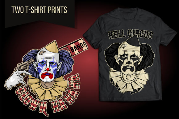 Sad Clown from Hell Circus Halloween Graphic Illustrations By LaLaFa