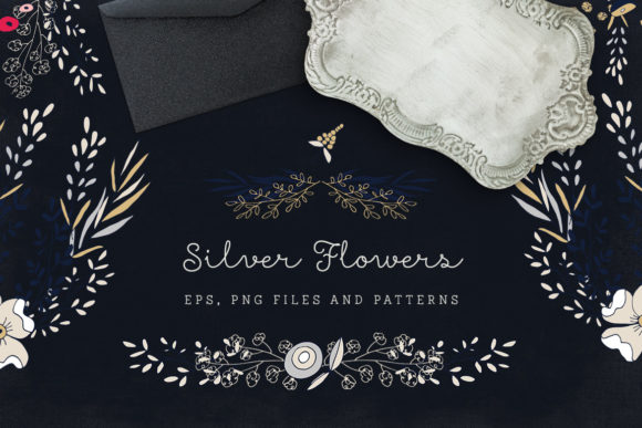 Print on Demand: Silver Flowers - Vector Floral Set Graphic Illustrations By webvilla