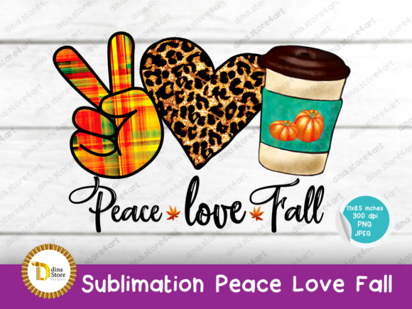 Print on Demand: Sublimation Halloween Peace Love Fall Graphic Crafts By dina.store4art