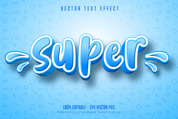 Print on Demand: Super Text, Cartoon Style Text Effect Graphic Graphic Templates By Mustafa Bekşen
