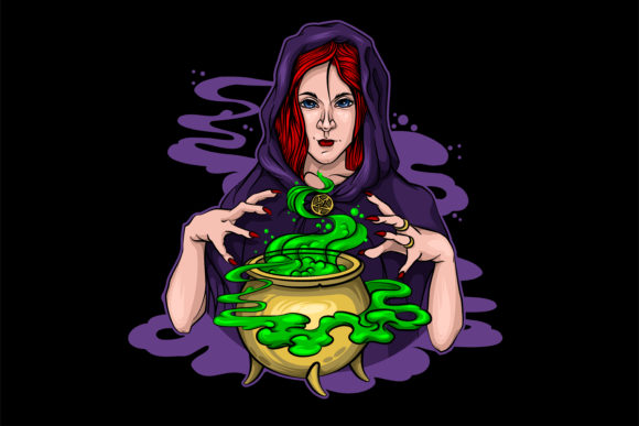 Two Magic Witches Halloween Vector Graphic Illustrations By LaLaFa