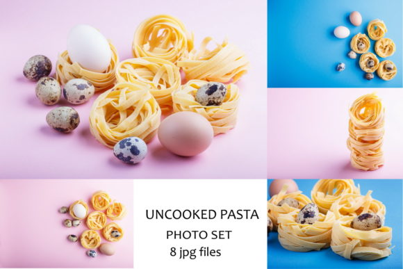 Uncooked Tagliatelle Pasta with Eggs Graphic Food & Drinks By Uladzimir Zgurski Photos