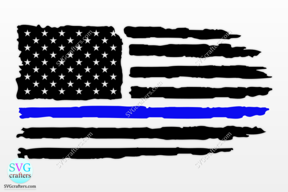 Print on Demand: American Flag Thin Blue Line Svg Graphic Crafts By SVGcrafters