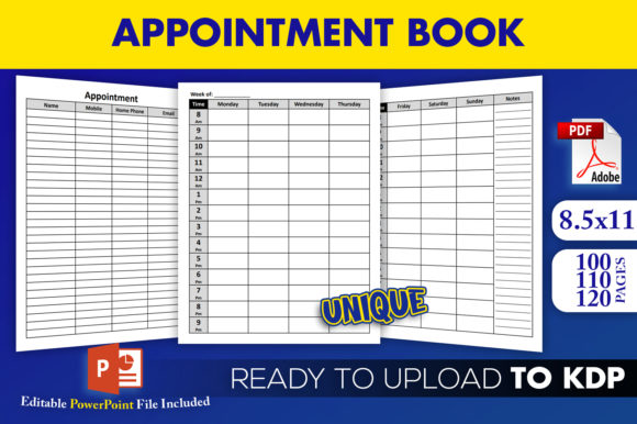 Print on Demand: Appointment Book Ready to Upload KDP Graphic KDP Interiors By Beast Designer