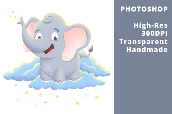 Print on Demand: Baby Elephant Sparkles on the Clouds Graphic Illustrations By Ex Nihilo