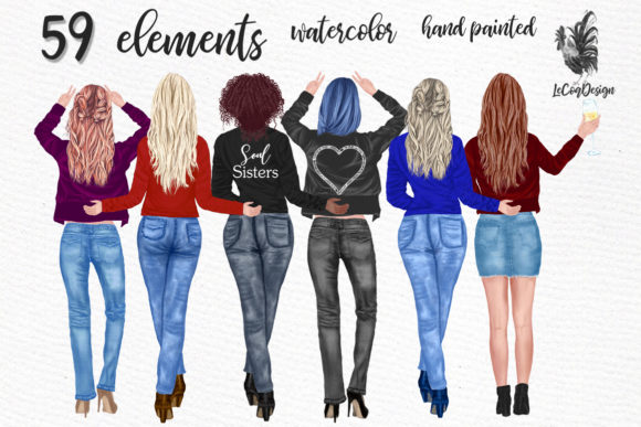 Best Friends Clipart Girls Back View Graphic Illustrations By LeCoqDesign - Image 1