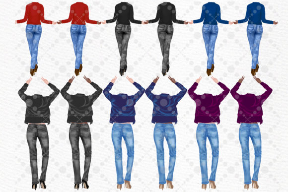 Best Friends Clipart Girls Back View Graphic Illustrations By LeCoqDesign - Image 2