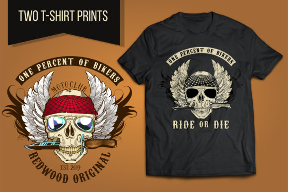 Biker Skull with Knife Colors Graphic Illustrations By LaLaFa
